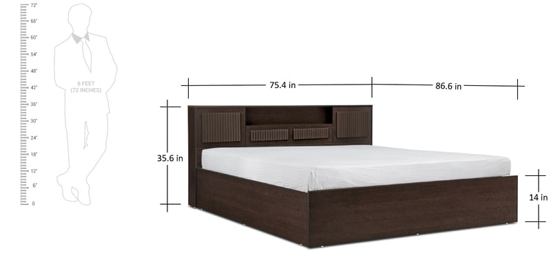 buy tiagosuper king size bed with storage in wenge finish by hometown online sized beds pepperfry