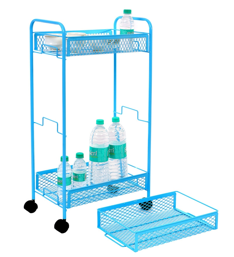 Tiara 3-Tier Compact Multi Utility Iron Blue Trolley
