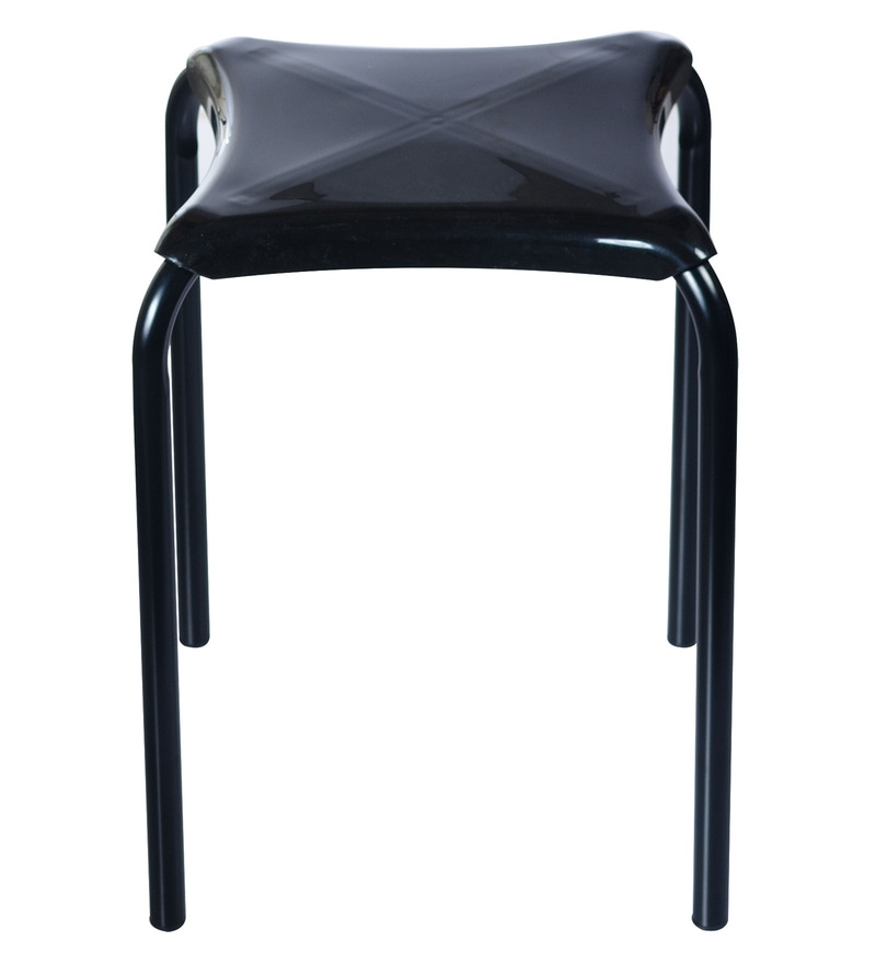 TidyHomz Indus Black Metal & Plastic 1.5 Ft Stackable Stools - Set of 2