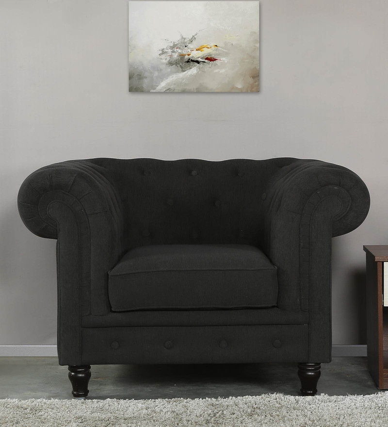 Tierra One Seater Sofa in Charcoal Grey Colour by CasaCraft