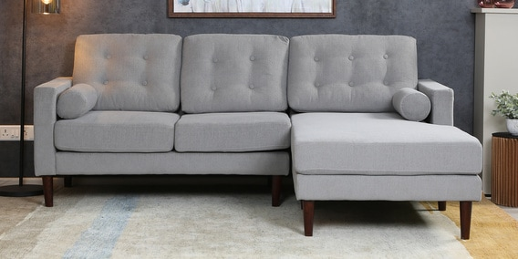 Tomas Lhs Two Seater Sofa With Lounger In Ash Grey Colour