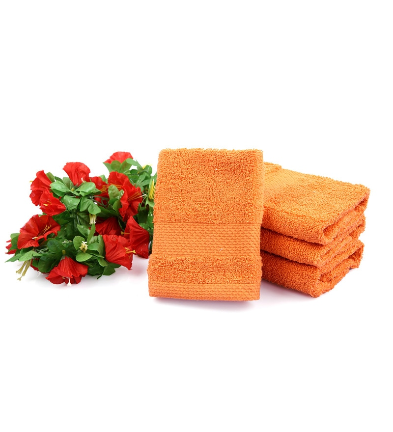 Orange Cotton Face Towel - Set of 4 by Tomatillo