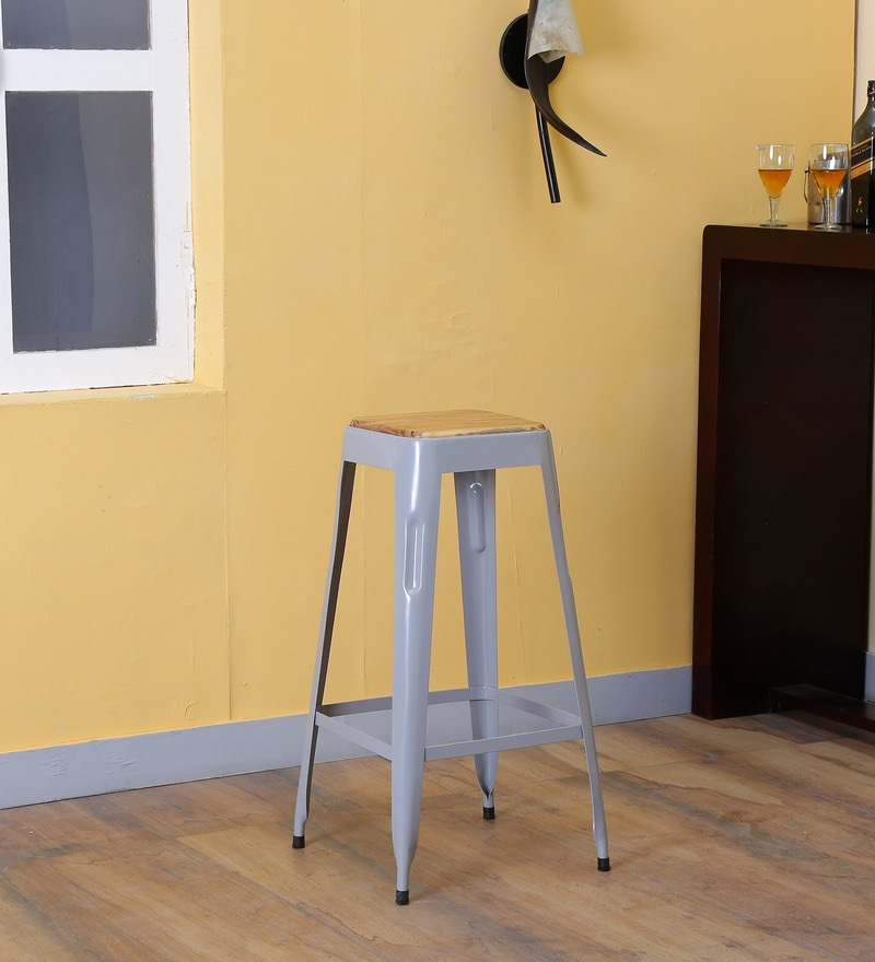 Tosh Bar Stool in Steel Black Grey by Bohemiana
