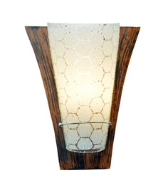 Transparent And Brown Glass And Wood Wall Light - 1657729