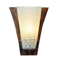 Transparent And Brown Glass And Wood Wall Light