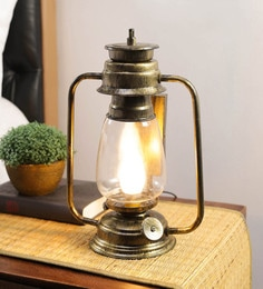 Transparent Glass Antique Lantern Table Lamp By New Era