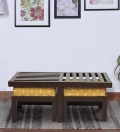 Trendy Coffee Table With Two Stools In Ochre Colour