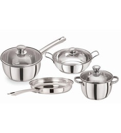 Tri Ply Induction Base Cooking Essential Stainless Steel Cookware - Set Of 4