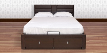 Triumph King Bed with Hydraulic Storage in Dark Brown Colour by @home at pepperfry