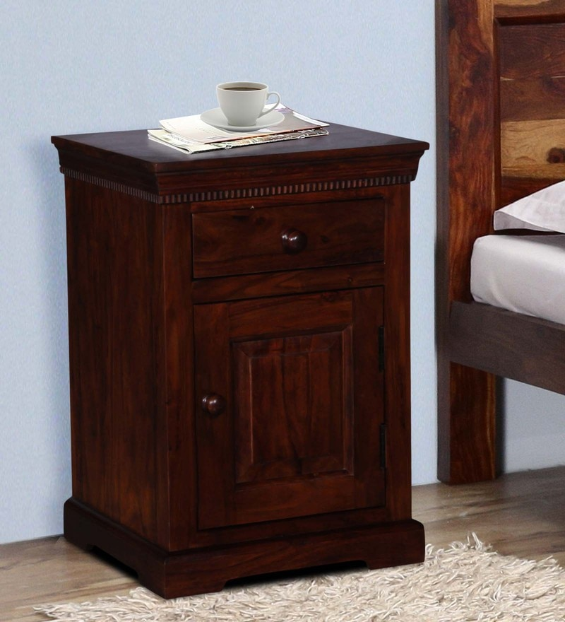 Trafford Bedside Table in Warm Rich Finish by Amberville