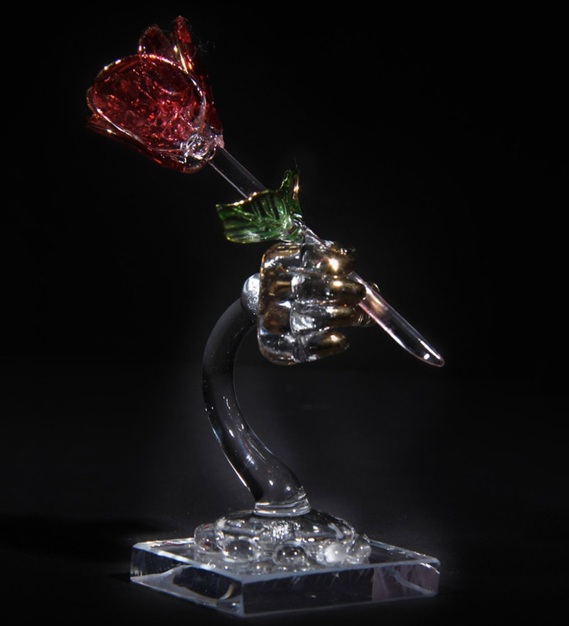 Transparent and Red Glass Beautiful Decorative Showpiece by Anasa