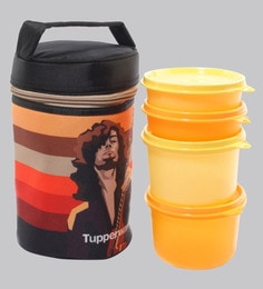 ... Tupperware Rocker Multicolour Plastic 4 Lunch Box with Insulated Bag