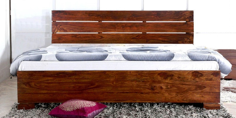 Tulsa Queen Size Bed with Storage in Provincial Teak Finish by Woodsworth