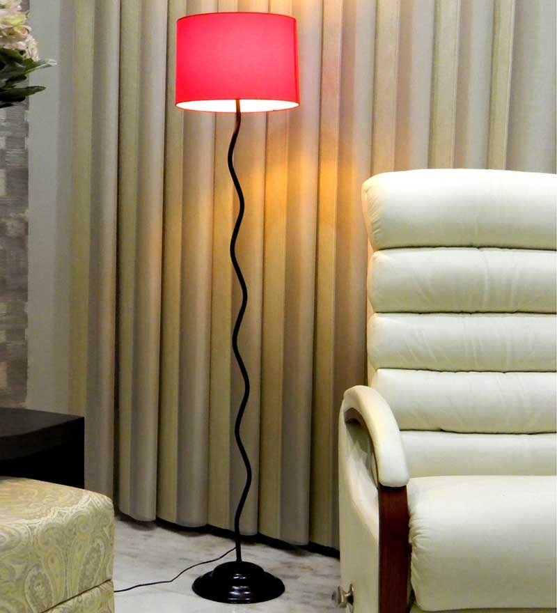 Circular Shade In Red Metal Floor Lamp by Tu Casa