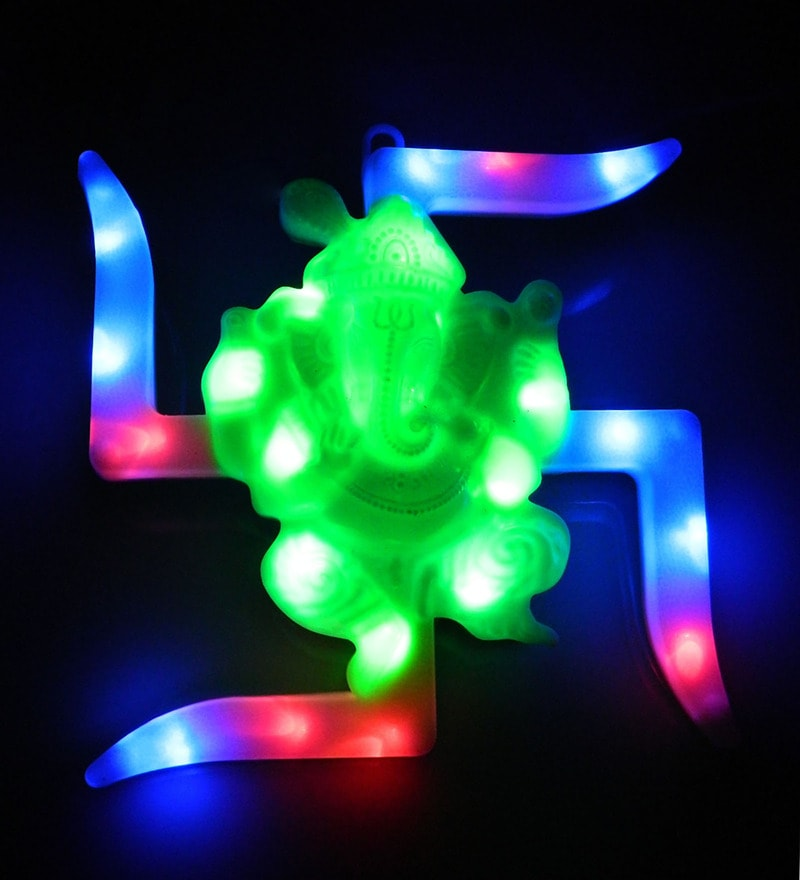 Multicolour Swastik with Ganesha LED Wall Hanging by Tu Casa