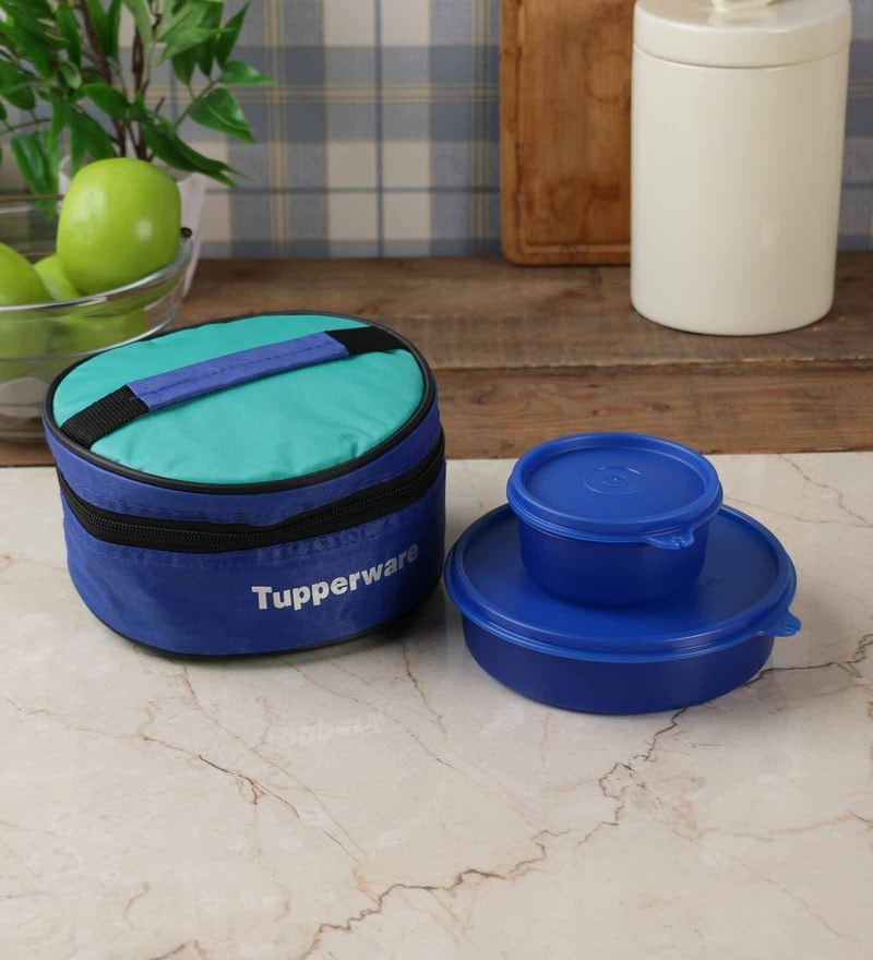 Tupperware Classic Blue Plastic 2pc Lunch Box with Bag