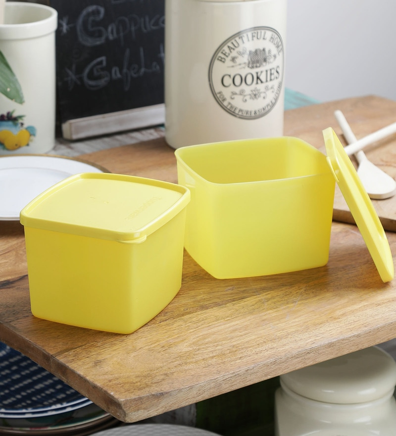 Tupperware Cool & Fresh Yellow Square 700 ML Refrigerator Boxes - Set of 2