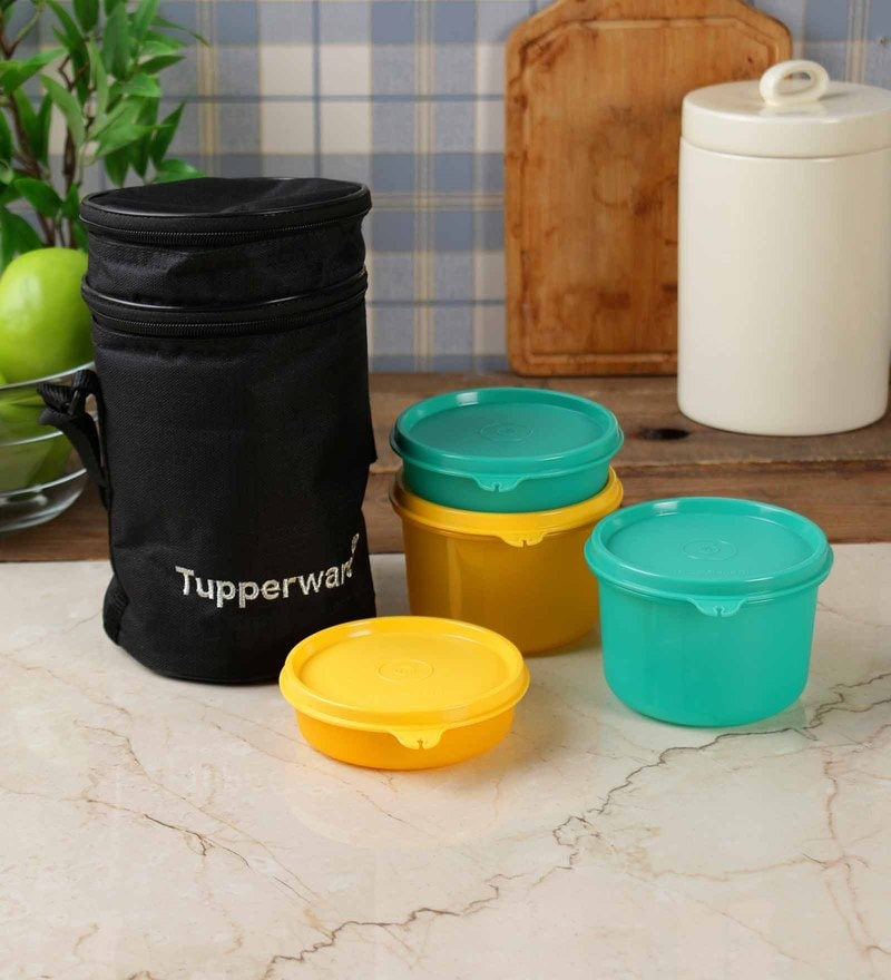 Tupperware Executive Plastic 4-piece Lunch Box with Insulated Bag