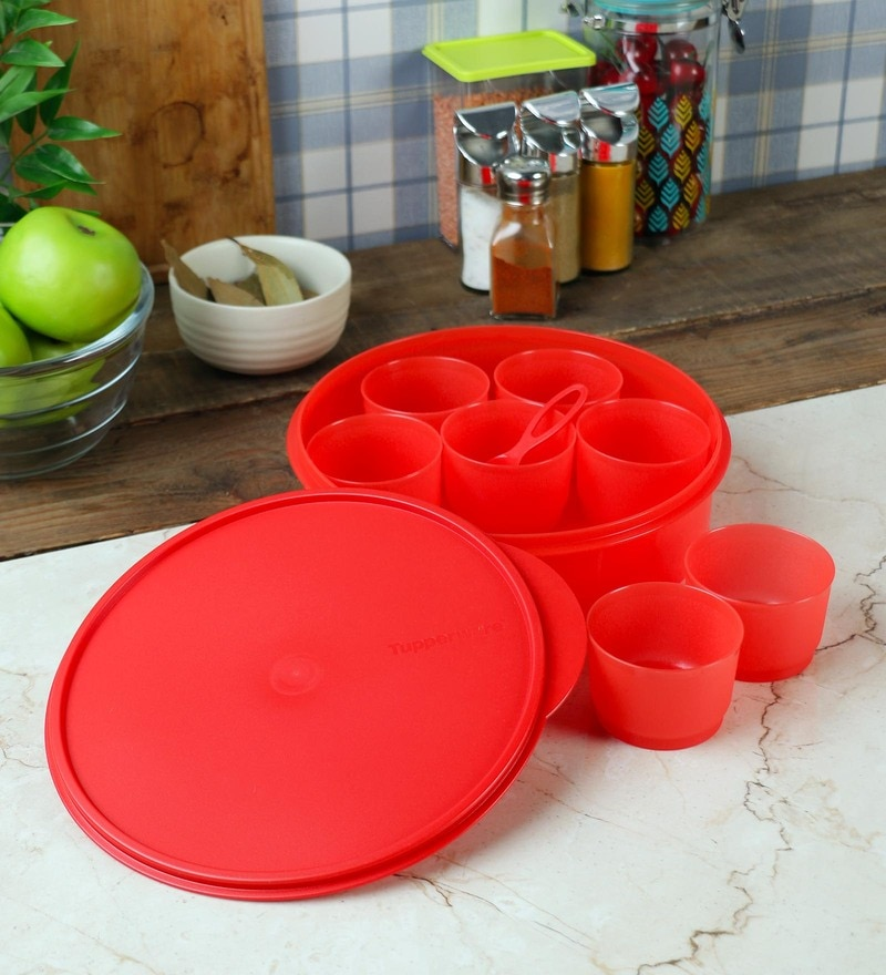 Tupperware Masala Magic Red Plastic 2.5 L Spice Box