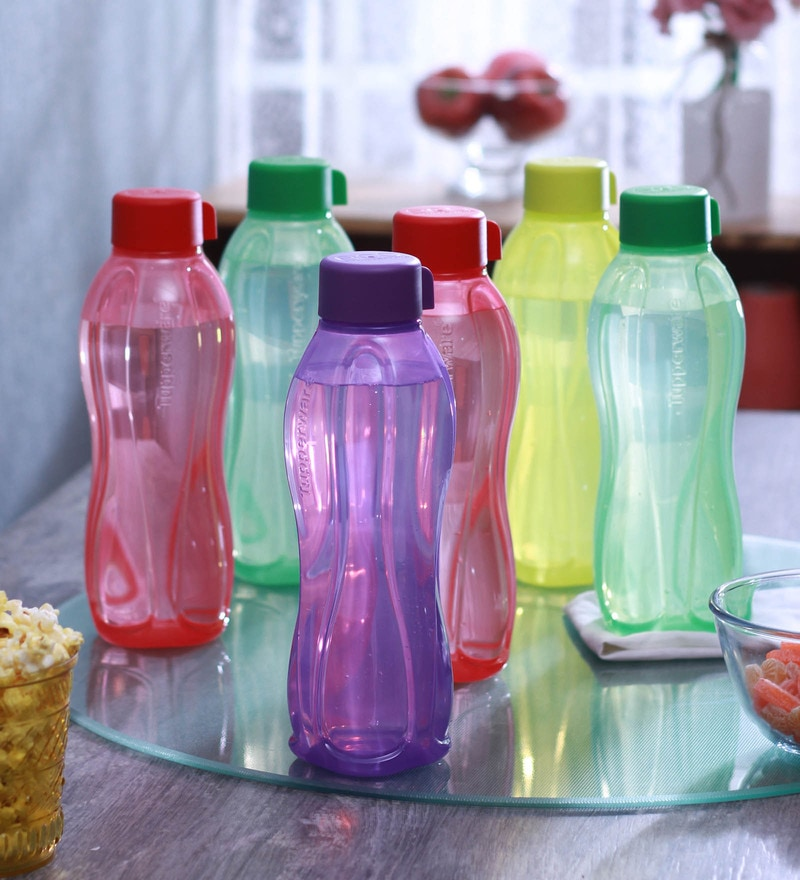 Tupperware Multicolour Plastic 1 L Round Bottle - Set of 6