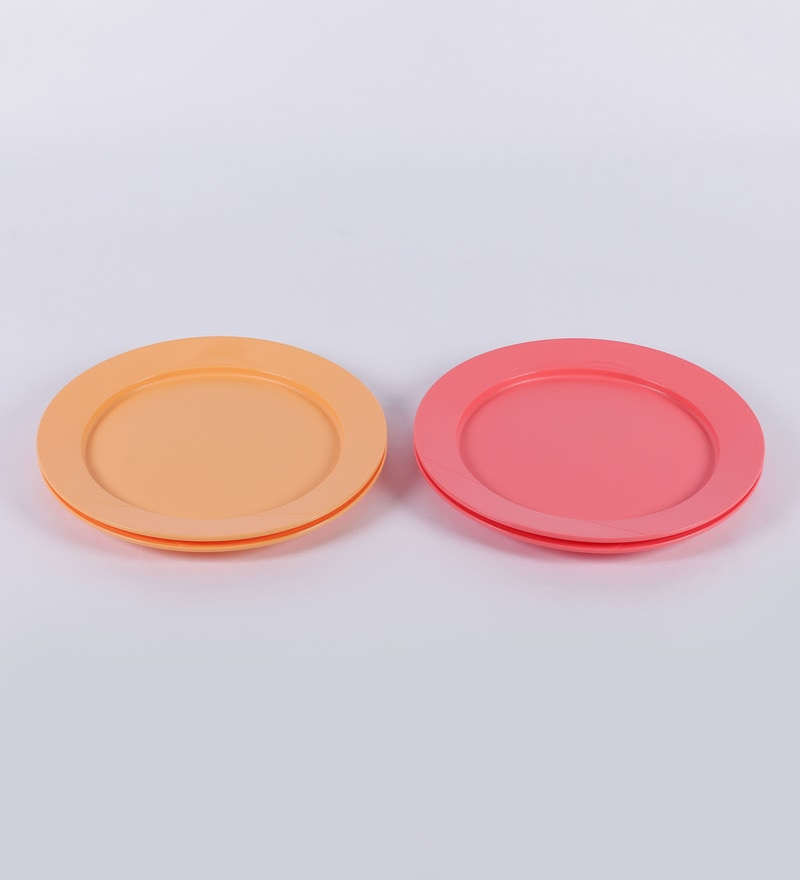 Click to Zoom In/Out  sc 1 st  Pepperfry & Buy Tupperware Orange and Red Stackable Plastic Dining Plates - Set ...