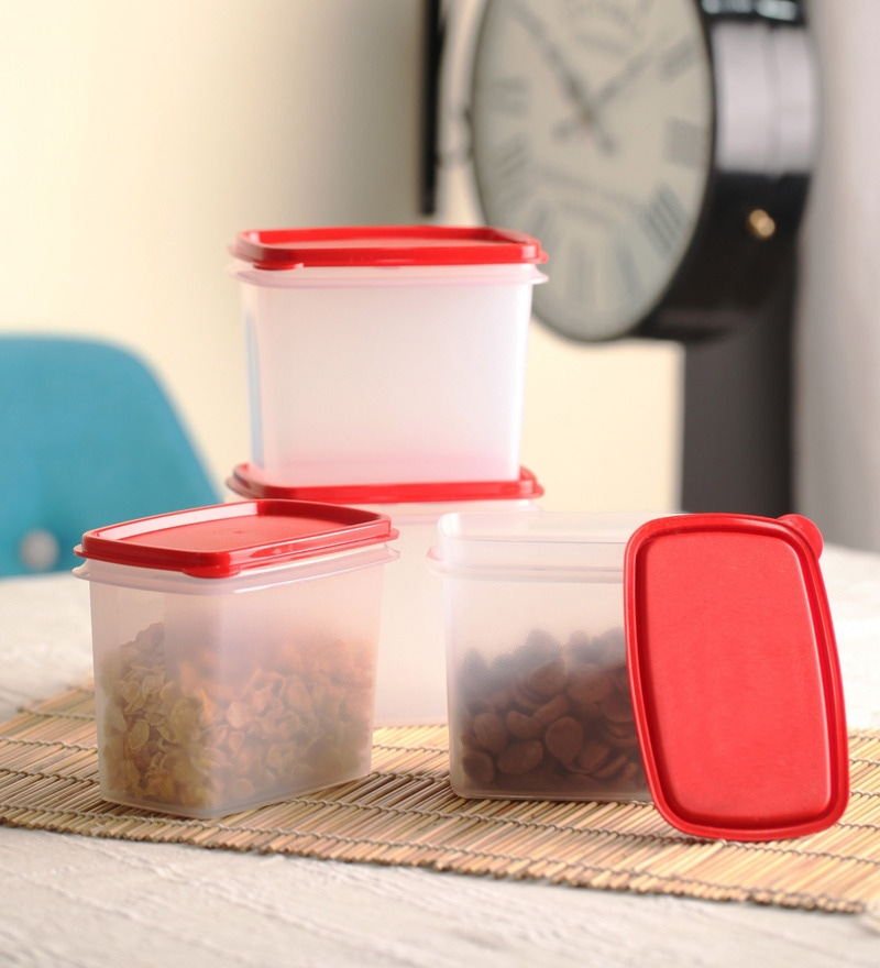 Tupperware Red Rectangle 800 ML Containers - Set of  4