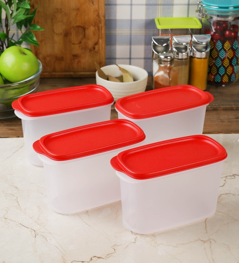 Tupperware Smart Saver White and Red Plastic 1100 ml Airtight Container - Set of 4