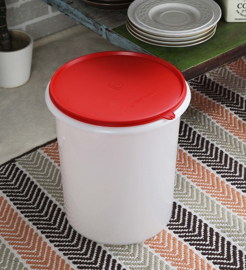 Tupperware White & Red Cylindrical 8750 ML Giant Canister