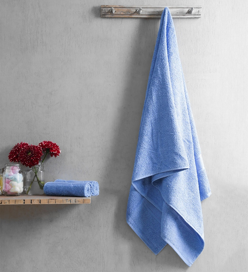 Blue Cotton 28 x 60 Inch Towel - Set of 3 by Turkish Bath