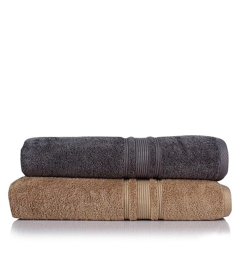 Grey and Brown 100% Cotton 30 x 56 Bath Towel - Set of 2 by Turkish Bath
