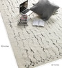 White Wool 90 x 63 Inch Abstract Carpet by Tulsiram Rugs