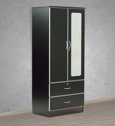 Two Door Wardrobe With Aluminium Frame & Mirror In Wenge Finish