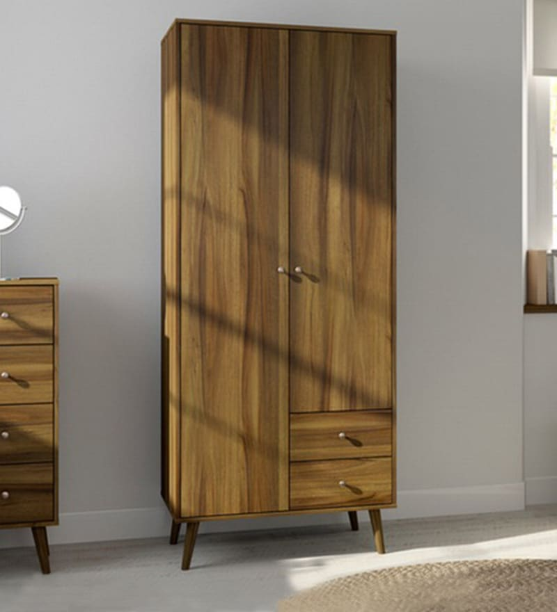 Two Door Wardrobe with External Drawers in Columbia Walnut Finish by Evergreen