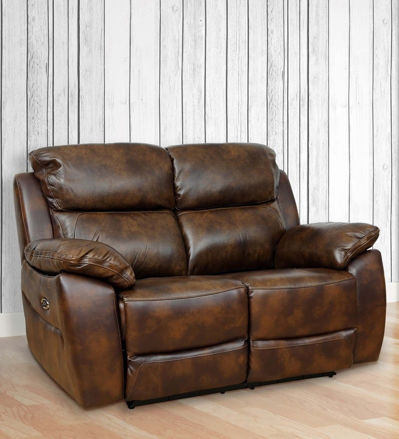 Charming Two Seater Motorized Half Leather Recliner In Mocha Colour By Star India