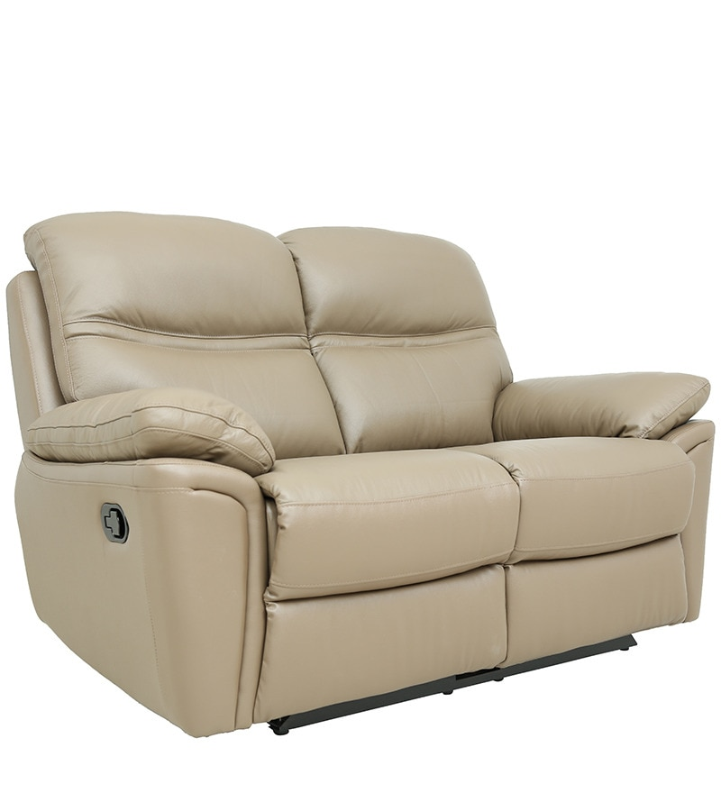 Leather Sofa Sale India: Buy Two Seater Recliner Sofa In Half Leather Taupe Colour