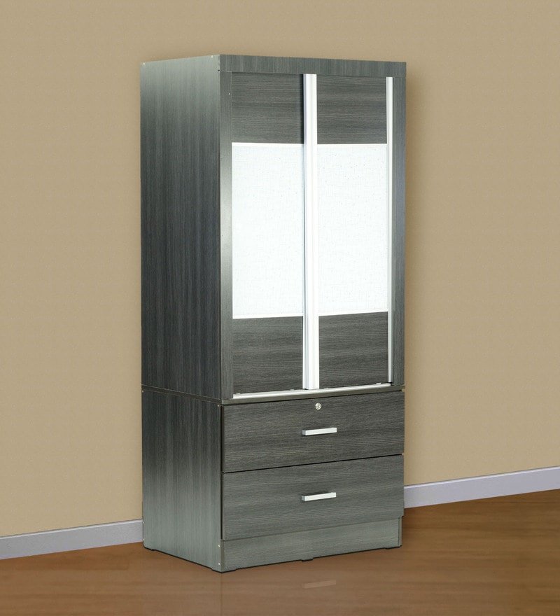 Two Sliding Doors Wardrobe with Anti-Jump Roller in Espresso Finish by Marco