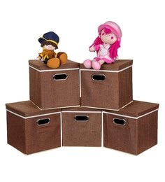 Uberlyfe Cardboard 25 L Brown Storage Boxes - Set Of 5