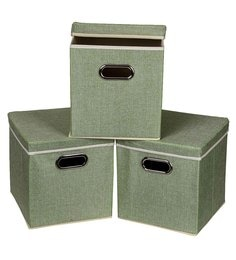 Uberlyfe Cardboard 25 L Green Storage Boxes - Set Of 3