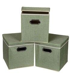 Uberlyfe Cardboard 25 L Green Storage Boxes - Set Of 3