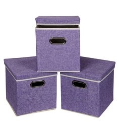 Uberlyfe Cardboard 25 L Purple Storage Boxes - Set Of 3