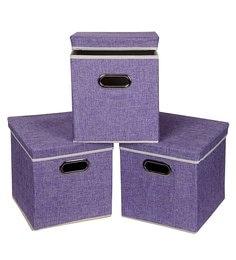 Uberlyfe Cardboard 25 L Purple Storage Boxes - Set Of 3
