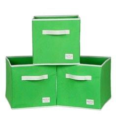 Uberlyfe Cubies Cardboard 20 L Green Storage Boxes - Set Of 3