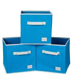 Uberlyfe Cubies Cardboard 20 L Light Blue Storage Boxes - Set Of 3