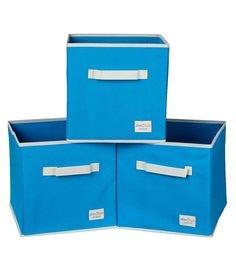 Uberlyfe Cubies Cardboard 20 L Light Blue Storage Boxes - Set Of 3