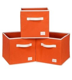 Uberlyfe Cubies Cardboard 20 L Orange Storage Boxes - Set Of 3
