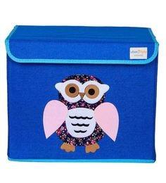 Uberlyfe Owl Cardboard & Bamboo 40 L Blue Single Flap Kids Storage Box - 1592936