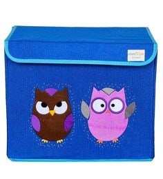 Uberlyfe Owl Cardboard & Bamboo 40 L Blue Single Flap Kids Storage Box