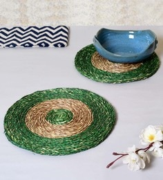 Unravel India Green & Brown Sabai Grass Coasters - Set Of 2