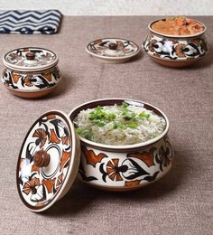 Unravel India Multicolour Ceramic Serving Bowls - Set Of 3