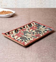 Unravel India Multicolour Ceramic Serving Tray